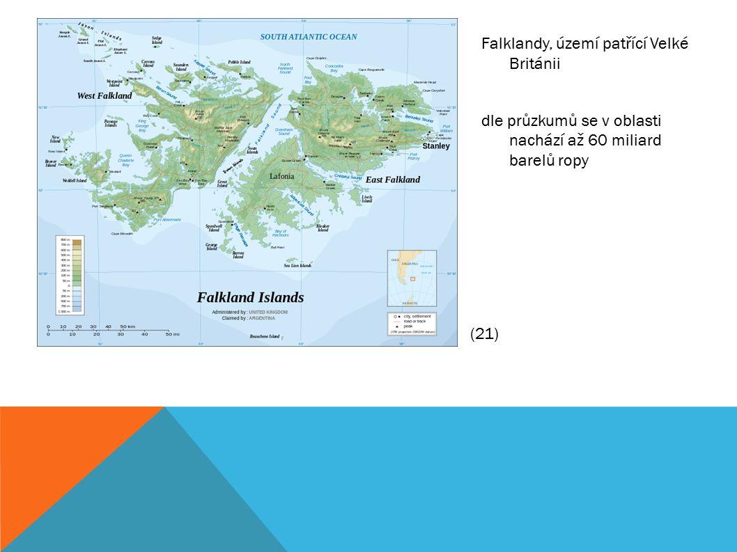 Falklandy, území patřící Velké Británii dle průzkumů se v oblasti nachází až 60 miliard barelů ropy (21)
