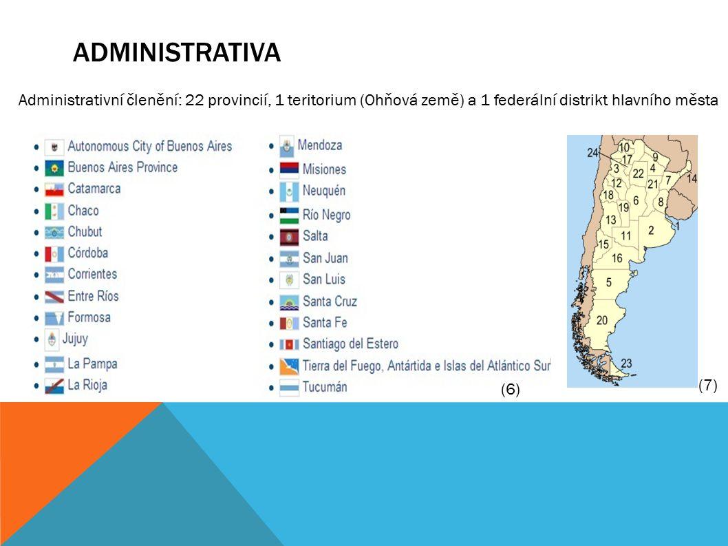 ADMINISTRATIVA Administrativní členění: 22 provincií, 1 teritorium (Ohňová země) a 1 federální distrikt hlavního města (6) (7)
