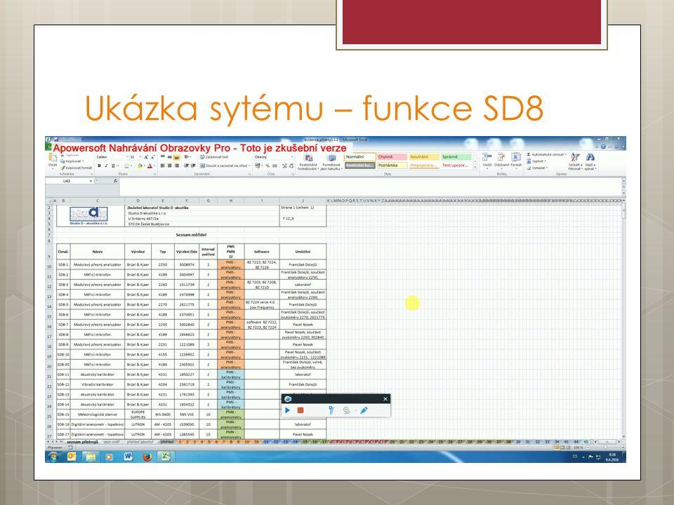Ukázka sytému – funkce SD8