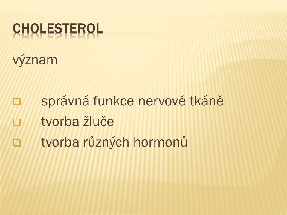 význam  správná funkce nervové tkáně  tvorba žluče  tvorba různých hormonů