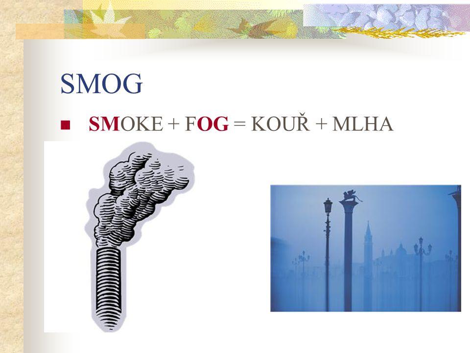 SMOG SMOKE + FOG = KOUŘ + MLHA
