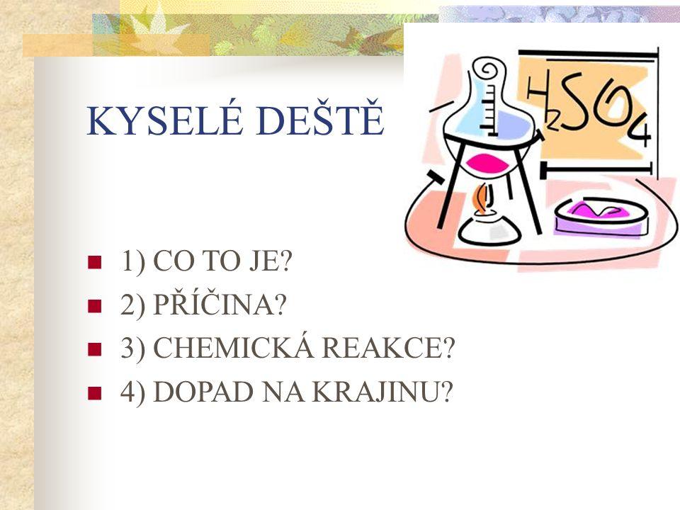 KYSELÉ DEŠTĚ 1) CO TO JE? 2) PŘÍČINA? 3) CHEMICKÁ REAKCE? 4) DOPAD NA KRAJINU?