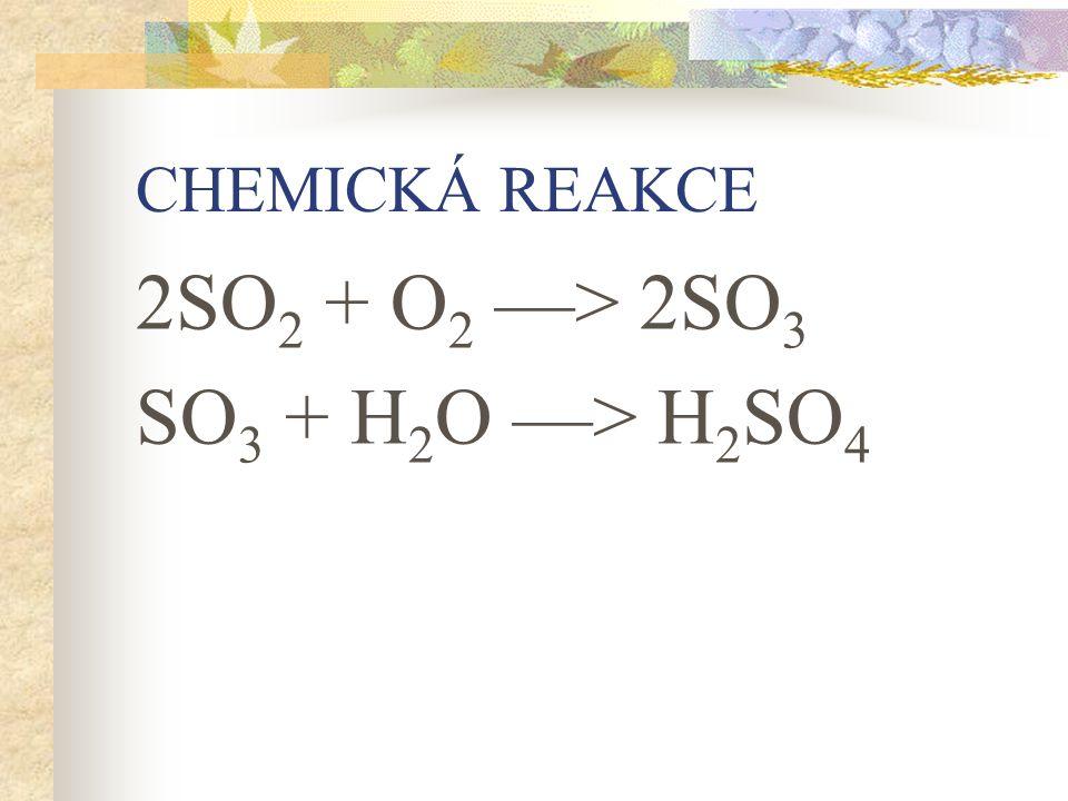 CHEMICKÁ REAKCE 2SO 2 + O 2 —> 2SO 3 SO 3 + H 2 O —> H 2 SO 4