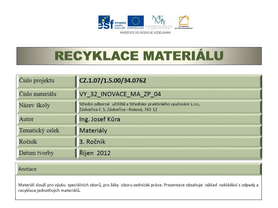 Anotace Materiál slouží pro výuku speciálních oborů, pro žáky oboru zednické práce.