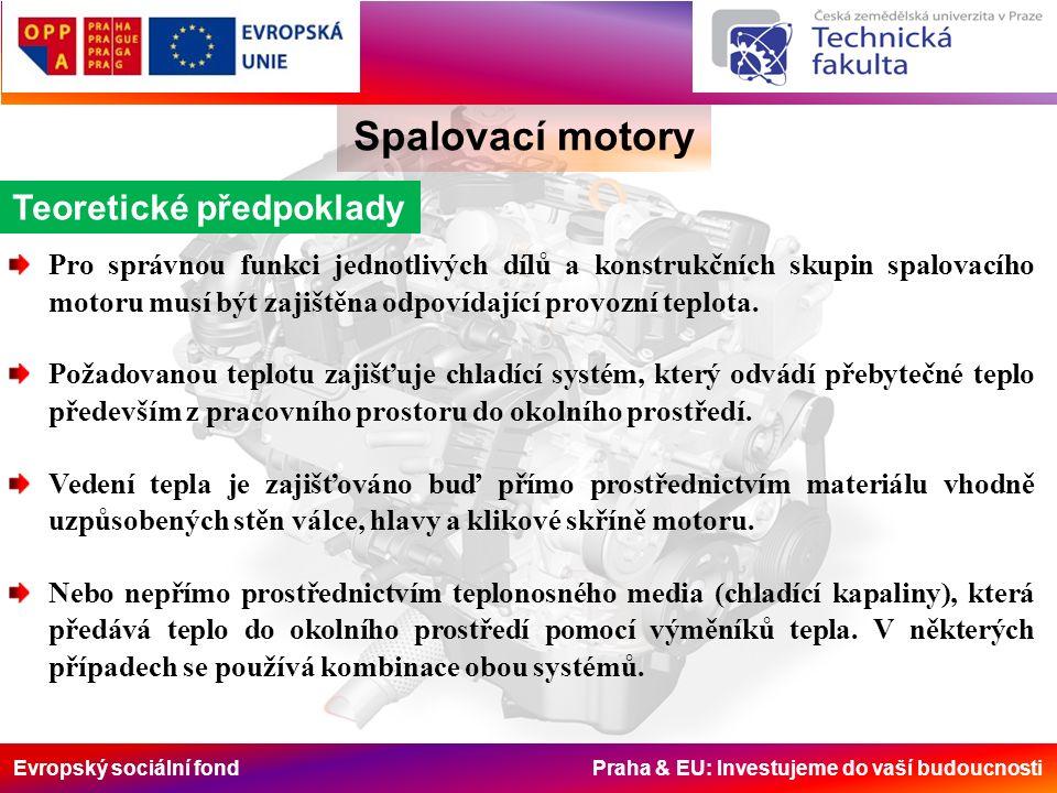 Evropský sociální fond Praha & EU: Investujeme do vaší budoucnosti Spalovací motory Teoretické předpoklady Pro správnou funkci jednotlivých dílů a konstrukčních skupin spalovacího motoru musí být zajištěna odpovídající provozní teplota.