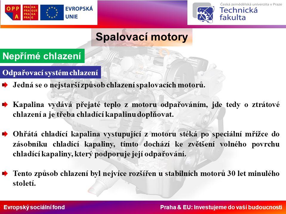 Evropský sociální fond Praha & EU: Investujeme do vaší budoucnosti Spalovací motory Nepřímé chlazení Odpařovací systém chlazení Jedná se o nejstarší způsob chlazení spalovacích motorů.