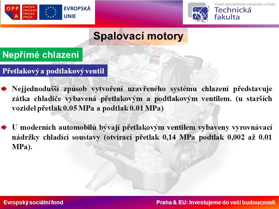 Evropský sociální fond Praha & EU: Investujeme do vaší budoucnosti Spalovací motory Nepřímé chlazení Přetlakový a podtlakový ventil Nejjednodušší způsob vytvoření uzavřeného systému chlazení představuje zátka chladiče vybavená přetlakovým a podtlakovým ventilem.