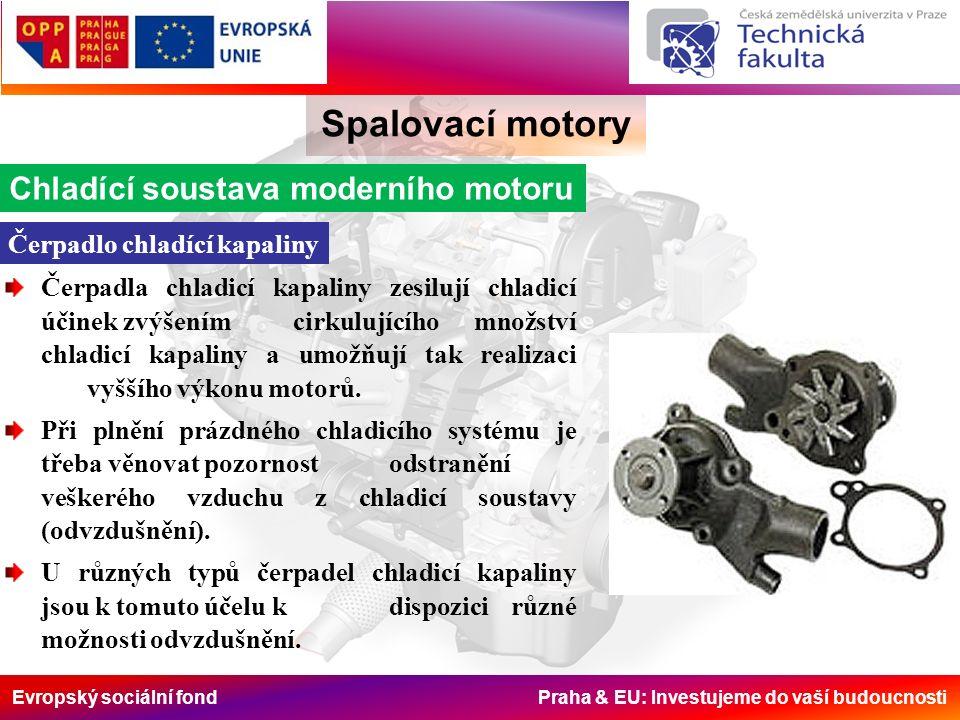 Evropský sociální fond Praha & EU: Investujeme do vaší budoucnosti Spalovací motory Chladící soustava moderního motoru Čerpadlo chladící kapaliny Čerpadla chladicí kapaliny zesilují chladicí účinek zvýšením cirkulujícího množství chladicí kapaliny a umožňují tak realizaci vyššího výkonu motorů.
