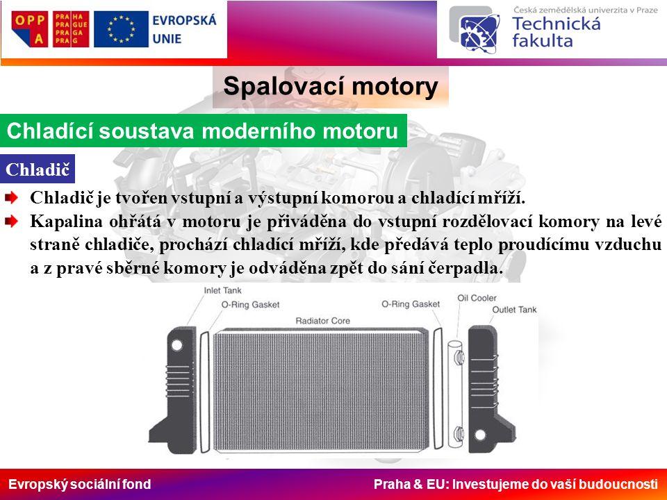 Evropský sociální fond Praha & EU: Investujeme do vaší budoucnosti Spalovací motory Chladící soustava moderního motoru Chladič Chladič je tvořen vstupní a výstupní komorou a chladící mříží.