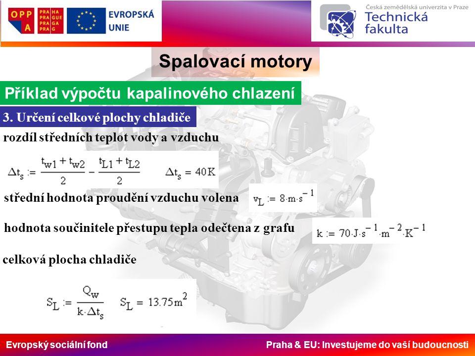 Evropský sociální fond Praha & EU: Investujeme do vaší budoucnosti Spalovací motory Příklad výpočtu kapalinového chlazení 3.