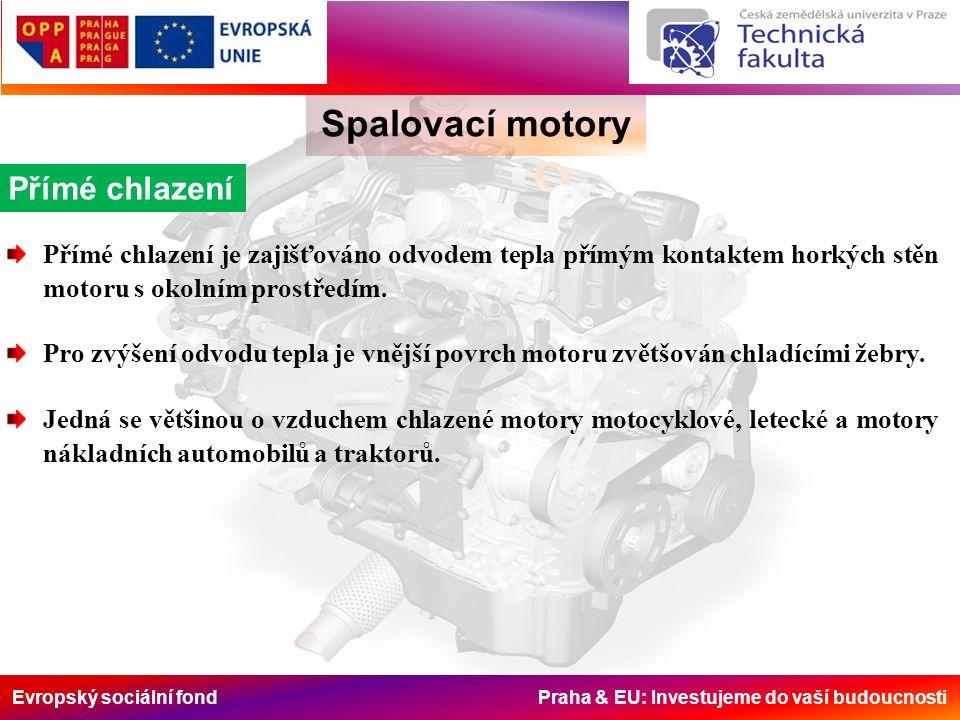 Evropský sociální fond Praha & EU: Investujeme do vaší budoucnosti Spalovací motory Přímé chlazení je zajišťováno odvodem tepla přímým kontaktem horkých stěn motoru s okolním prostředím.