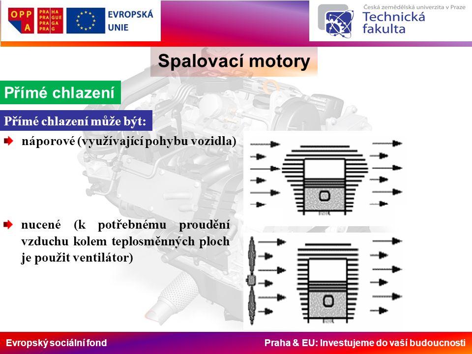 Evropský sociální fond Praha & EU: Investujeme do vaší budoucnosti Spalovací motory Přímé chlazení Přímé chlazení může být: náporové (využívající pohybu vozidla) nucené (k potřebnému proudění vzduchu kolem teplosměnných ploch je použit ventilátor)