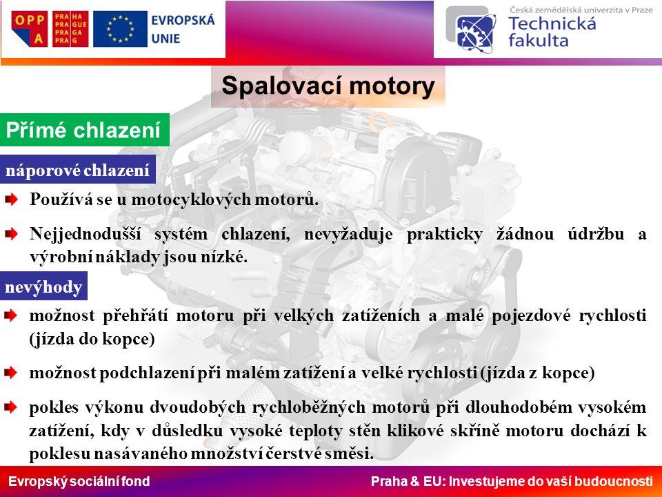 Evropský sociální fond Praha & EU: Investujeme do vaší budoucnosti Spalovací motory Přímé chlazení náporové chlazení Používá se u motocyklových motorů.