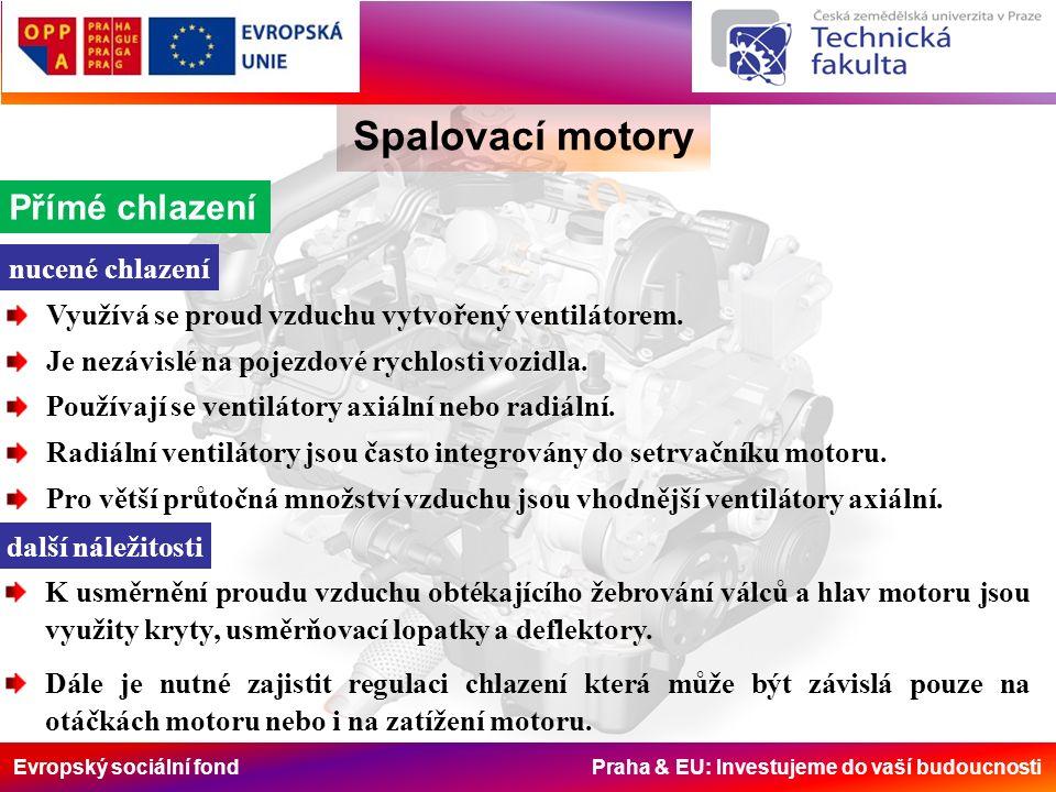Evropský sociální fond Praha & EU: Investujeme do vaší budoucnosti Spalovací motory Přímé chlazení nucené chlazení Využívá se proud vzduchu vytvořený ventilátorem.