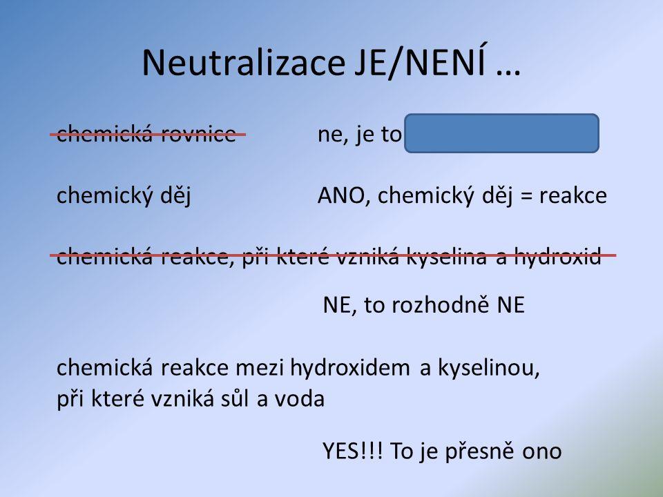 Vyber dvojice chemikálií, mezi kterými může proběhnout neutralizace H 2 O + Zn NaOH + H 2 NaOH + HCl H 2 SO 4 + Al(OH) 3 Cl 2 + H 2 Ca(OH) 2 + HNO 3 KOH + H 2 CO 3 Úkol: zapiš rovnice neutralizací rovnice vyčísli
