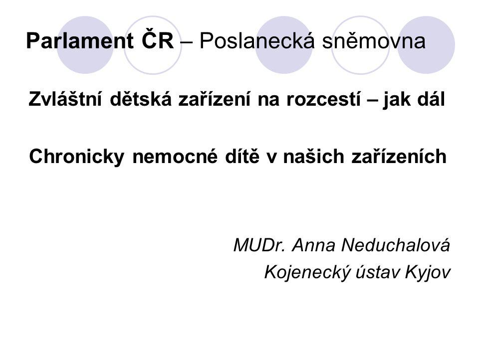 Profesionální pěstounská rodina nedostatek vhodných pěstounských rodin pro zdravé děti romského etnika nedostatek pěstounských rodin pro děti i s mírným handicapem ustát náročnou specializovanou péči 24 hodin denně nemožné (syndrom vyhoření, riziko opakovaných hospitalizací na drahých akutních lůžkách v nemocnicích finanční náročnost proškolení pěstounů nároky na odborné vzdělání pěstounů finanční náročnost na vybavení potřebnými pomůckami dostupnost odborných služeb