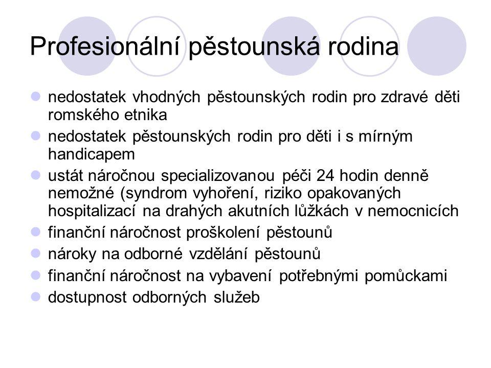 Profesionální pěstounská rodina nedostatek vhodných pěstounských rodin pro zdravé děti romského etnika nedostatek pěstounských rodin pro děti i s mírn