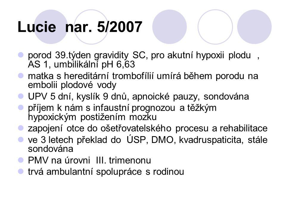 Lucie nar. 5/2007 porod 39.týden gravidity SC, pro akutní hypoxii plodu, AS 1, umbilikální pH 6,63 matka s hereditární trombofílií umírá během porodu