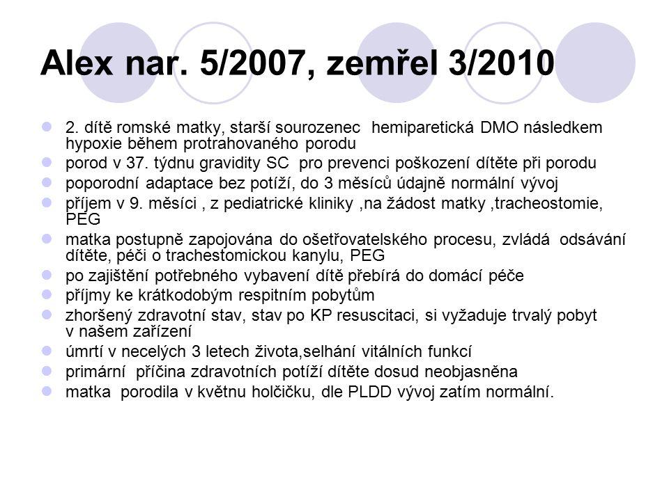 Alex nar. 5/2007, zemřel 3/2010 2. dítě romské matky, starší sourozenec hemiparetická DMO následkem hypoxie během protrahovaného porodu porod v 37. tý