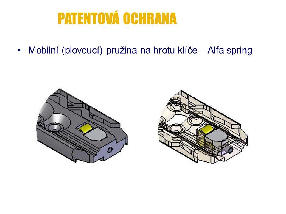 Mobilní (plovoucí) pružina na hrotu klíče – Alfa spring PATENTOVÁ OCHRANA