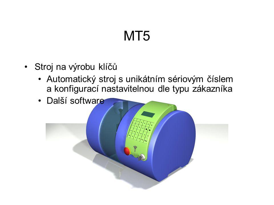 MT5 Stroj na výrobu klíčů Automatický stroj s unikátním sériovým číslem a konfigurací nastavitelnou dle typu zákazníka Další software