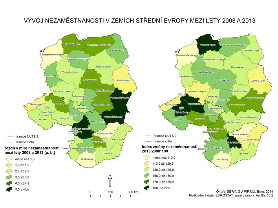 """ specializace průmyslové výroby - krize nezasáhla všechny obory stejně - 2008-12: v celé střední Evropě největší úbytky TOK, výroba počítačů a výroba nápojů x nejmenší poklesy ve strojírenství, kovozpracujícím průmyslu, některých odvětví chemie a potravinářství  index specializace průmyslové výroby pro střední Evropu - region hierarchicky nižší = region NUTS 2 - region hierarchicky vyšší = celá střední Evropa = země V4 - kritická výše indexu stanovena na """"2,0 ; jeden region může mít více specializací - dvě doplňující kritéria: a) index nižší než """"2,0 , ale podíl odvětví na celkové zaměstnanosti vyšší než 4 % -> uznáno jako specializace, b) index vyšší než """"2,0 , ale podíl odvětví na celkové zaměstnanosti nepřekročil 2 % -> neuznáno jako specializace Ekonomická krize ve střední Evropě"""