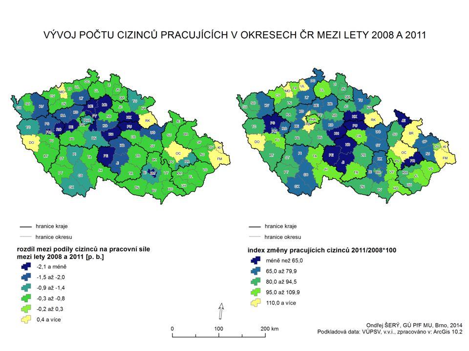  případové studie pro průmysl měst Jihlava a Zlín – pro účely výzkumu Zlín sloučen s Otrokovicemi  podobnosti: - krajská města, statut (znovu) získala v roce 2000 - výrazná průmyslová minulost - významní průmysloví zaměstnavatelé i v současnosti - největší zaměstnavatelé z různých odvětví, ale stejný hlavní odběratel - nízký podíl cizinců na pracovní síle (okres Jihlava – 2,59 % x Zlín – 2,96 %)  odlišnost: - rozdílná populační velikost měst (Jihlava – 51 tis.
