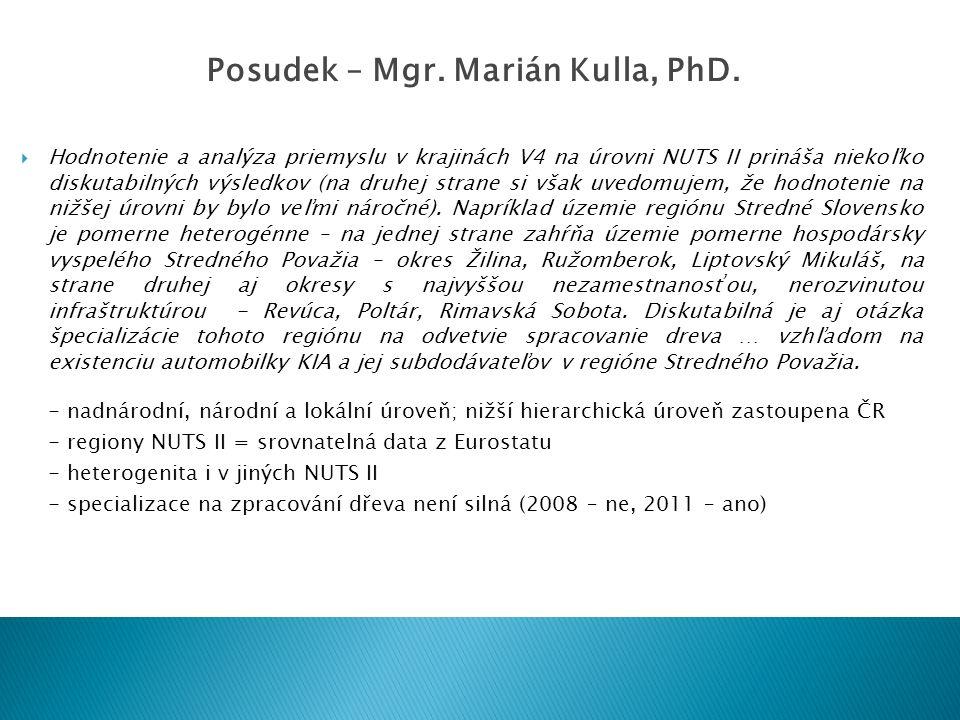  Hodnotenie a analýza priemyslu v krajinách V4 na úrovni NUTS II prináša niekoľko diskutabilných výsledkov (na druhej strane si však uvedomujem, že h