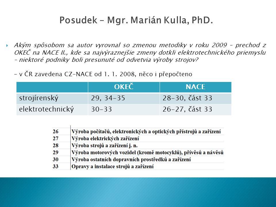  Akým spôsobom sa autor vyrovnal so zmenou metodiky v roku 2009 – prechod z OKEČ na NACE II., kde sa najvýraznejšie zmeny dotkli elektrotechnického p
