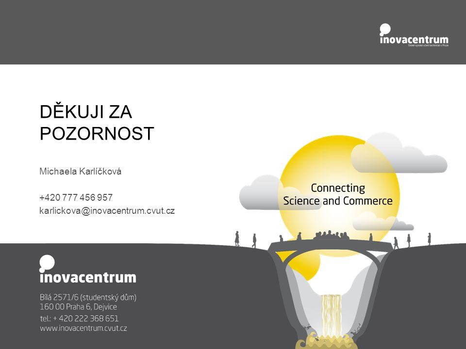 DĚKUJI ZA POZORNOST Michaela Karlíčková +420 777 456 957 karlickova@inovacentrum.cvut.cz