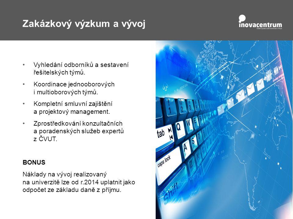 Zakázkový výzkum a vývoj Vyhledání odborníků a sestavení řešitelských týmů.