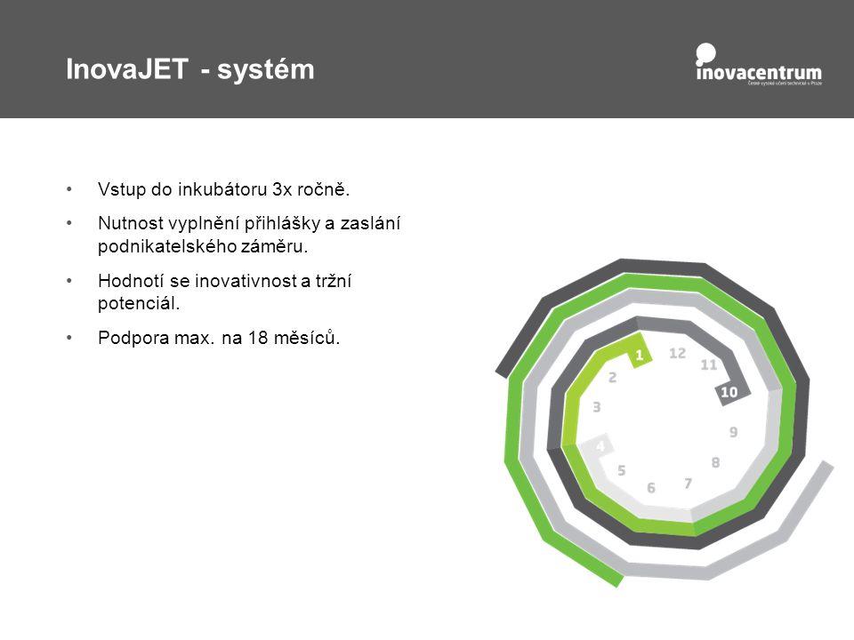 InovaJET - systém Vstup do inkubátoru 3x ročně.