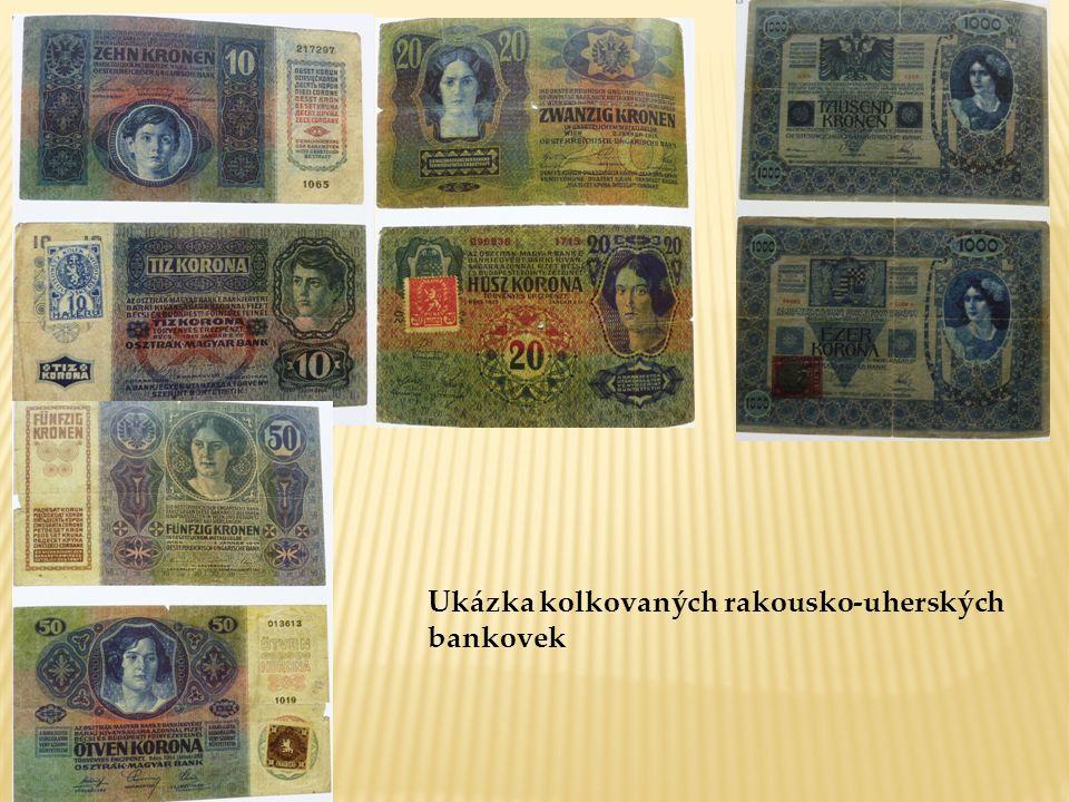 Ukázka kolkovaných rakousko-uherských bankovek