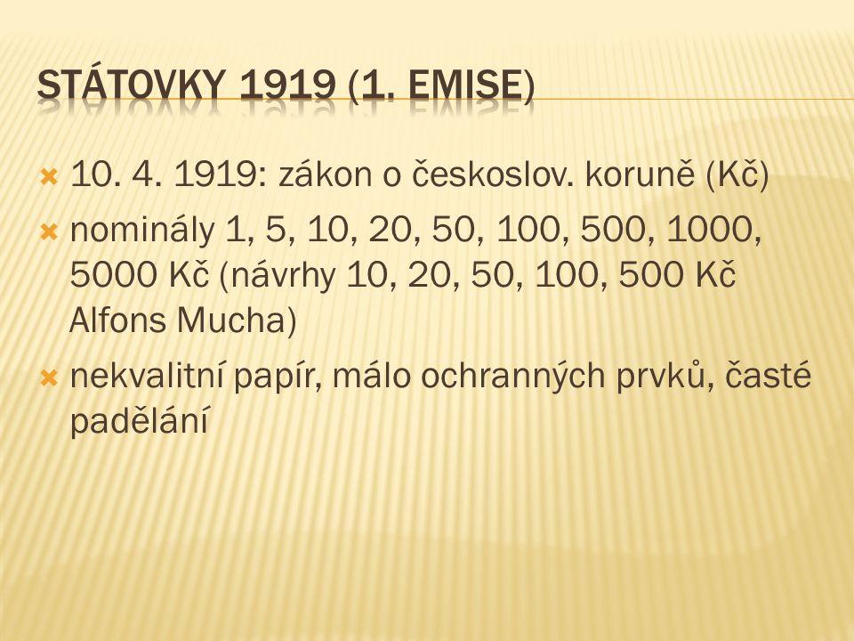  10. 4. 1919: zákon o českoslov.