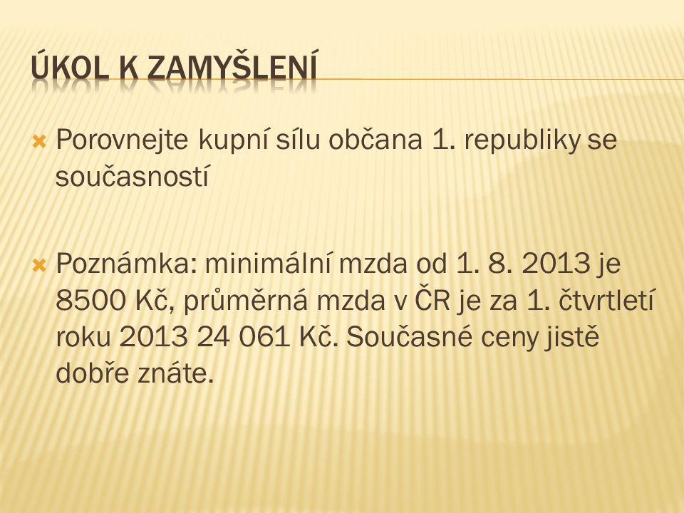  Porovnejte kupní sílu občana 1. republiky se současností  Poznámka: minimální mzda od 1.