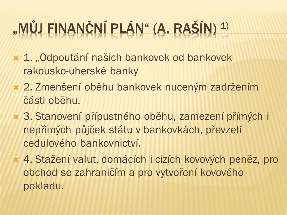 """ 1. """"Odpoutání našich bankovek od bankovek rakousko-uherské banky  2."""
