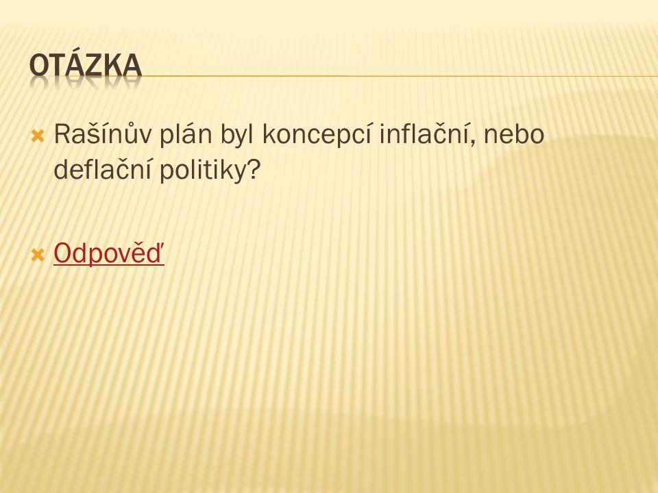  Rašínův plán byl koncepcí inflační, nebo deflační politiky  Odpověď Odpověď