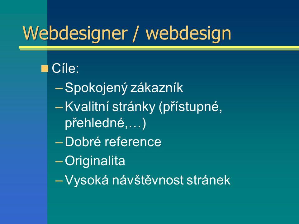 Webdesigner / webdesign Cíle: –Spokojený zákazník –Kvalitní stránky (přístupné, přehledné,…) –Dobré reference –Originalita –Vysoká návštěvnost stránek