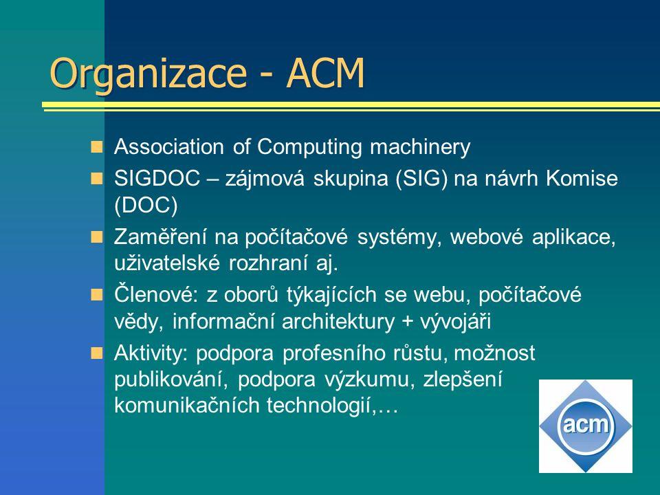 Organizace - ACM Association of Computing machinery SIGDOC – zájmová skupina (SIG) na návrh Komise (DOC) Zaměření na počítačové systémy, webové aplikace, uživatelské rozhraní aj.