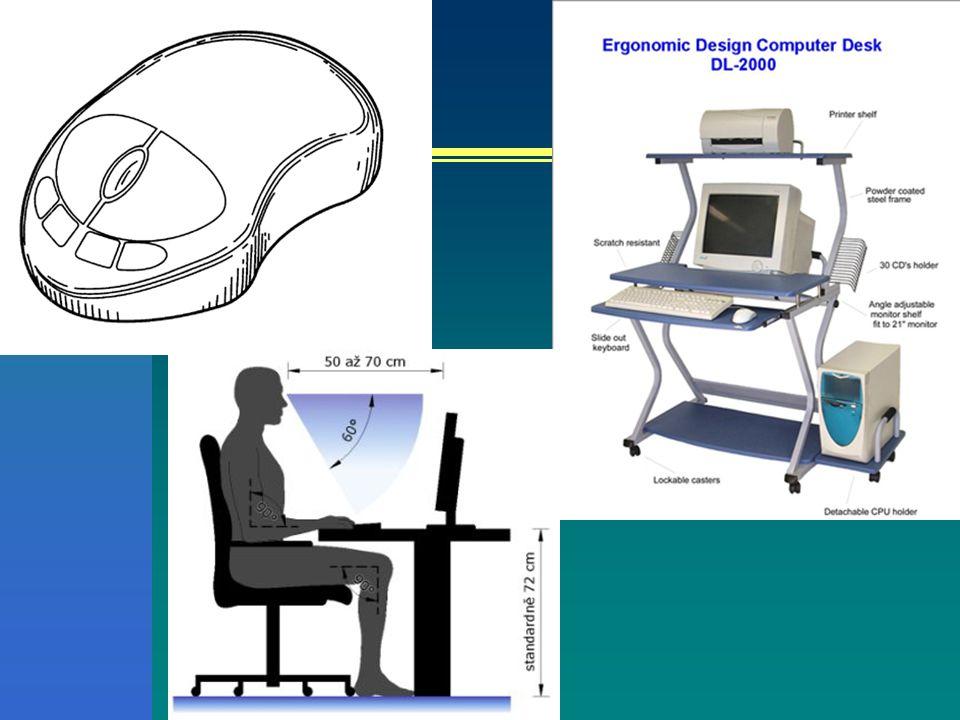 Ergonom / ergonomie Kognitivní (vizuální) Kognitivní vlastnosti člověka a PC Čtení z obrazovky Uspořádání objektů na monitoru Nadměrný příjem informací – zabránit Databáze, interaktivní média Hypertextové odkazy, vyhledávání – neztrácet se Design, grafická stránka Software vhodný pro uživatele