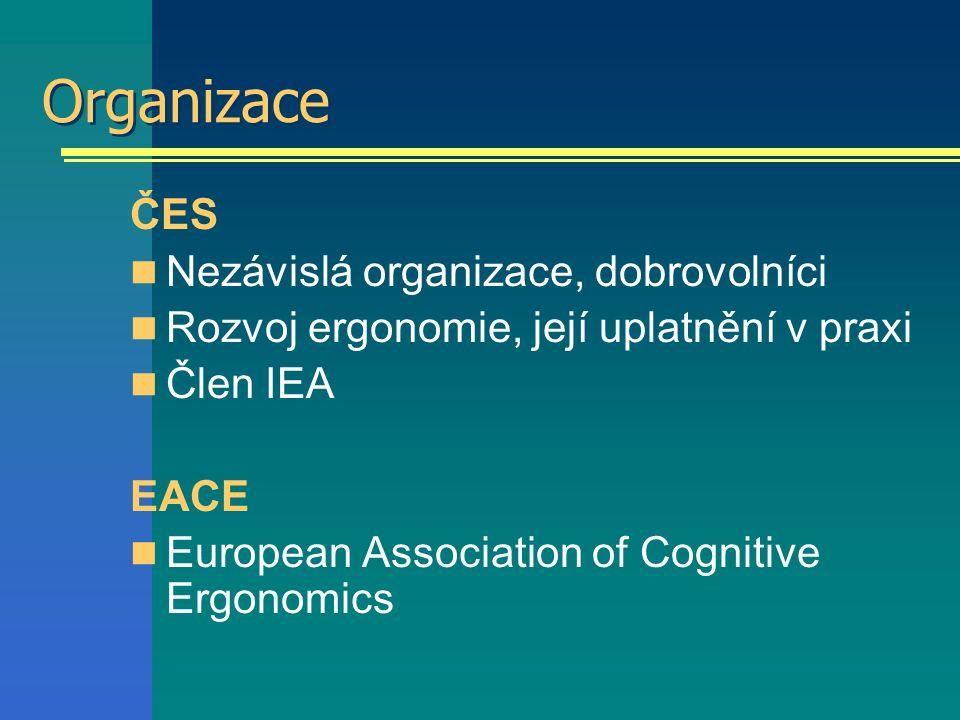 Organizace ČES Nezávislá organizace, dobrovolníci Rozvoj ergonomie, její uplatnění v praxi Člen IEA EACE European Association of Cognitive Ergonomics
