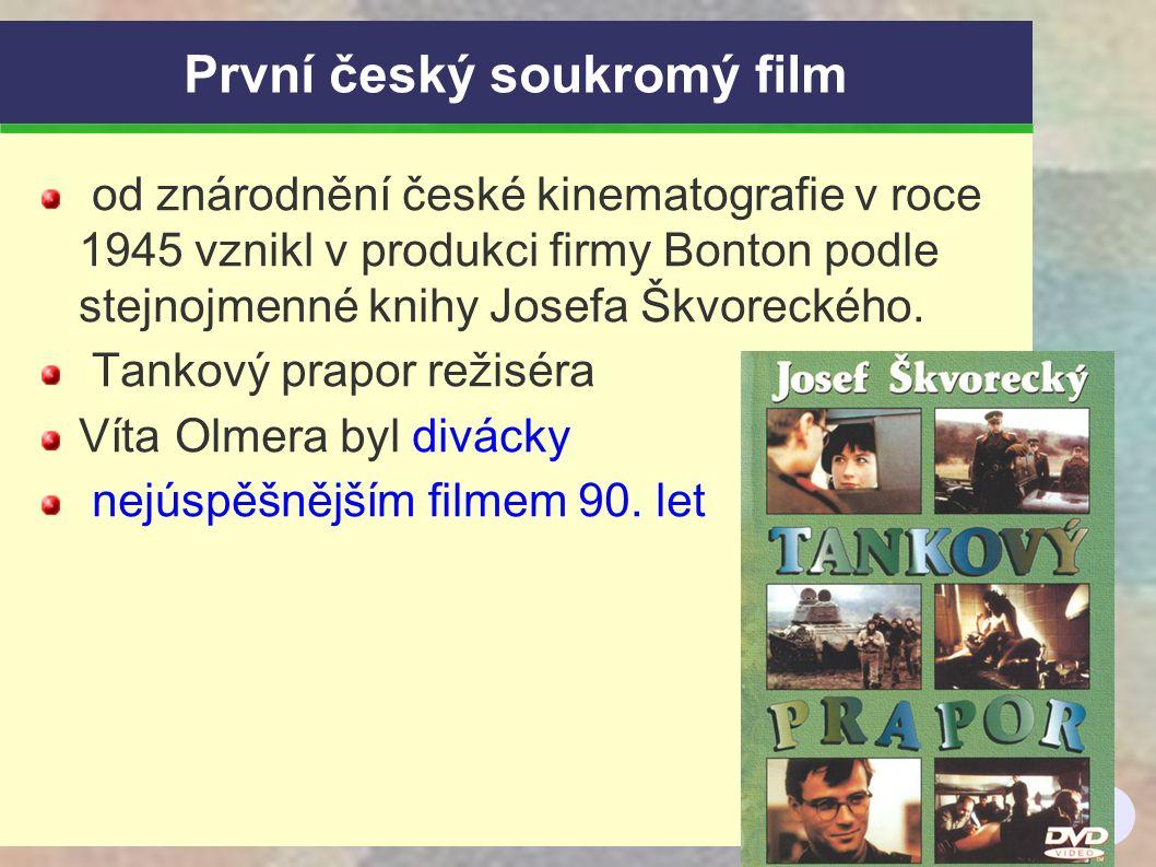 6 První český soukromý film od znárodnění české kinematografie v roce 1945 vznikl v produkci firmy Bonton podle stejnojmenné knihy Josefa Škvoreckého.