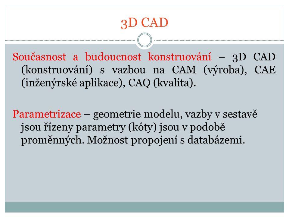 3D CAD Současnost a budoucnost konstruování – 3D CAD (konstruování) s vazbou na CAM (výroba), CAE (inženýrské aplikace), CAQ (kvalita).
