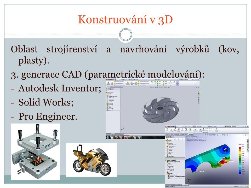 Konstruování v 3D Oblast strojírenství a navrhování výrobků (kov, plasty).