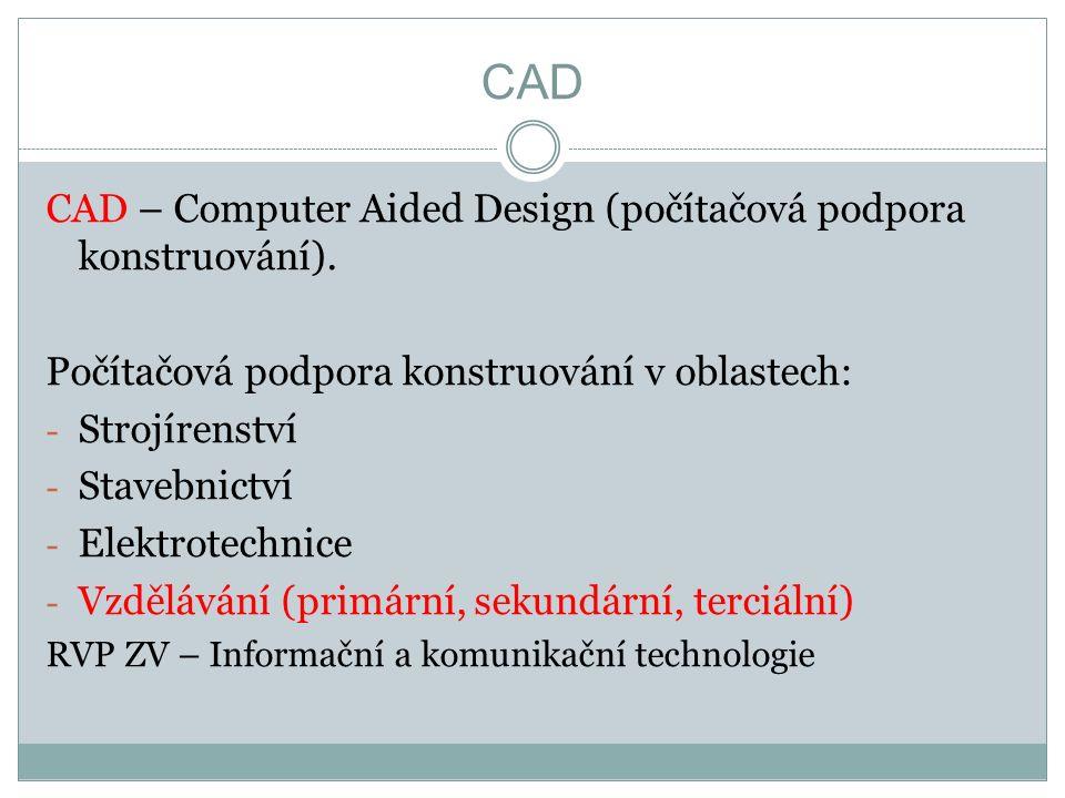 CAD CAD – Computer Aided Design (počítačová podpora konstruování).
