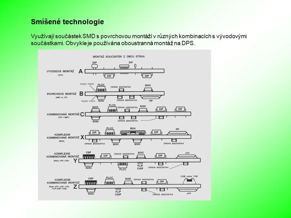 Smíšené technologie Využívají součástek SMD s povrchovou montáží v různých kombinacích s vývodovými součástkami.