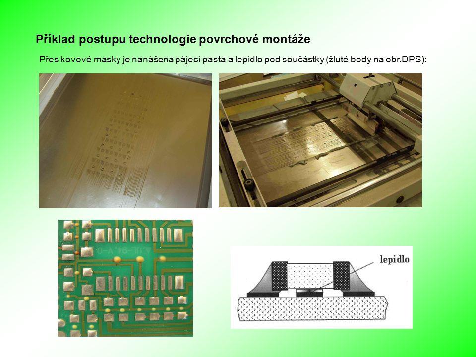 Příklad postupu technologie povrchové montáže Přes kovové masky je nanášena pájecí pasta a lepidlo pod součástky (žluté body na obr.DPS):