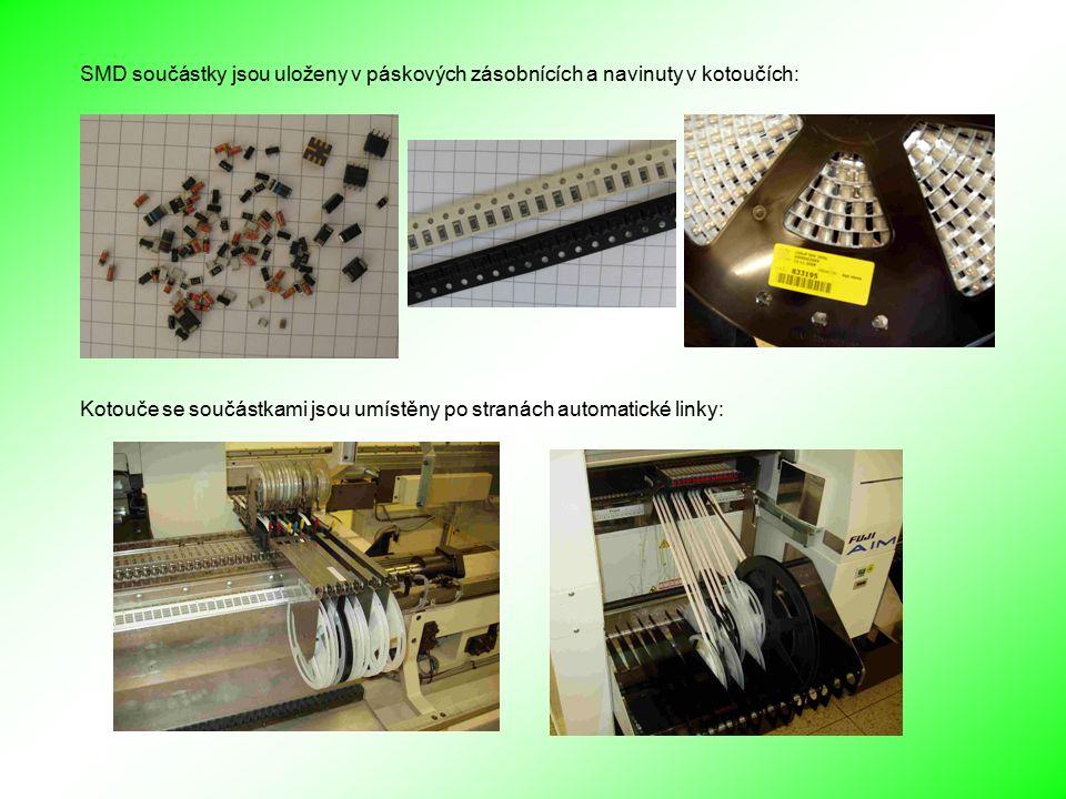 SMD součástky jsou uloženy v páskových zásobnících a navinuty v kotoučích: Kotouče se součástkami jsou umístěny po stranách automatické linky: