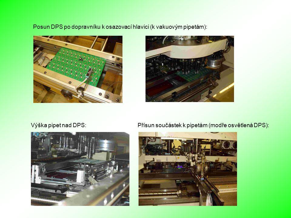 Výška pipet nad DPS: Přísun součástek k pipetám (modře osvětlená DPS): Posun DPS po dopravníku k osazovací hlavici (k vakuovým pipetám):