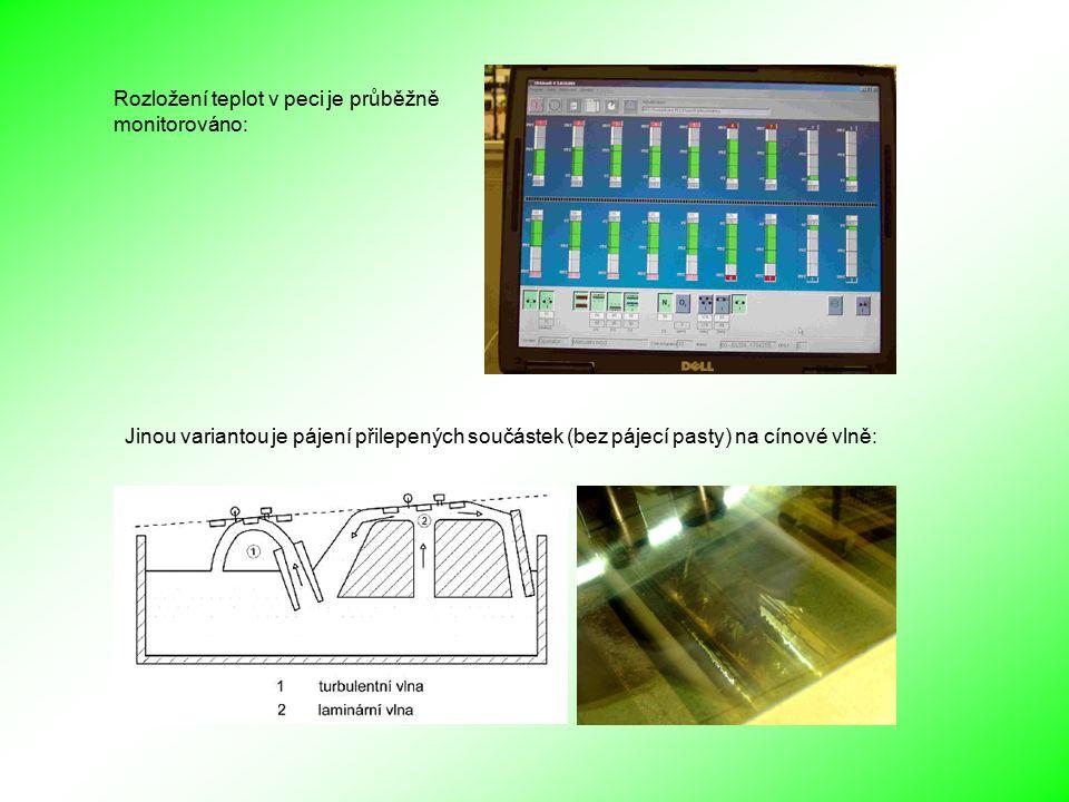 Jinou variantou je pájení přilepených součástek (bez pájecí pasty) na cínové vlně: Rozložení teplot v peci je průběžně monitorováno: